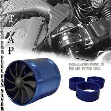 "3"" Universal Tornado Turbonator Intake Dual Fan Gas Fuel Saver Supercharger BLUE"