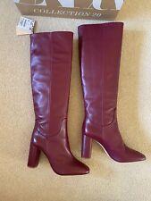 Zara Burgundy Knee High Leather Boots SIZE 5 EU 38 BNWT RRP £119.99