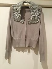 Sisley cardigan RRP£75 removable neck applique Size M