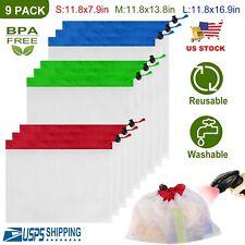 9Pc Reusable Mesh Produce Bags Washable Reusable Shopping Bags Storage Organizer