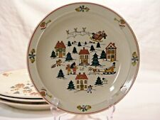 """JOY OF CHRISTMAS by Midwestern Homes 4 DINNER PLATES 10 1/8""""  Red Band Village"""