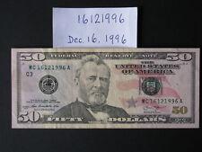 BIRTHDAY ((( Dec 16, 1996 ))) Note - $50 Dollar Bill - MC 16121996 A - Event etc