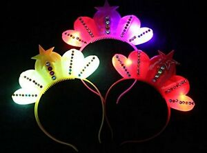 12 pc LED Flashing Light-Up Star Crown Headband Multi color party birthday favor