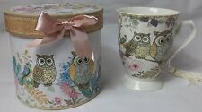 Owl 9 oz Mug Coffee / Tea Cup with Tassel and Decorative Gift Box Cone shape