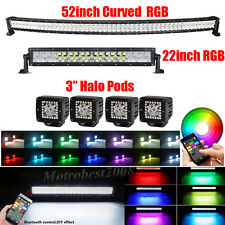 "Curved 52Inch LED Light Bar + 22"" + 4x 3"" CREE HALO PODS RGB Strobe Bluetooth"
