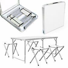 Campingtisch Klapptisch Falttisch mit 4 Stühlen aus Aluminium faltbar 120x60cm