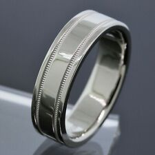 Tiffany&Co. Men's Platinum PT950 6mm Wide Milgrain Wedding Band Ring Size 10.25