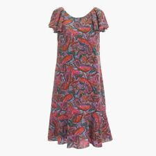 NWT J. Crew Ruffled Dress in Vibrant Paisley Pink 100% Silk Size 6