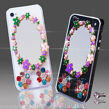 NEW 3D DELUX COOL LUXURY BLING MIRROR FLOWER DIAMANTE CASE FOR APPLE iPhone 7