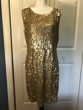 EUC Michael Kors Gold sequin short dress. Large. Scoop Back.