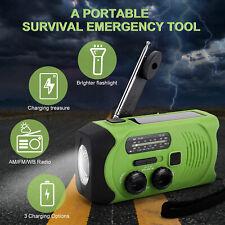 Emergency Solar Hand Crank Weather Alert AM/FM/NOAA Radio SOS 2000mAh Power Bank