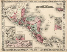 1864 Map Guatemala Honduras El Salvador Nicaragua Costa Rica Jamaica 11x14 Print