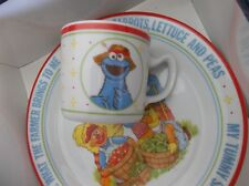 Sesame street Plate 8.5 inches All the gang Newcor Plant and cup set