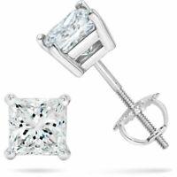 2 ct. White Sapphire Princess Screw Backs Stud Earrings - 14k White gold/Silver