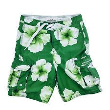 Mens Abercrombie & Fitch Cargo Swim Trunks Board Shorts S Hawaiian 32 X 22 Green