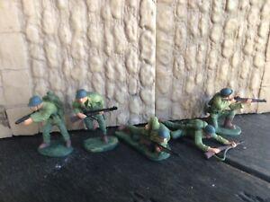 D Day World War 2. 5 US Infantry BMC plastic toy Soldier 60mm
