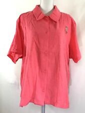 d5ae7f80b79 HABAND womens twinset SIZE 3X pink button shirt short sleeves floral tank  (I140)