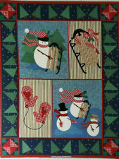 Snowman Christmas Fabric Panel Cotton 34 X 44 Inches
