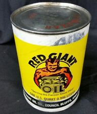 RARE Red Giant oil Can 1 quart Council Bluffs Iowa unopened yellow vintage farm