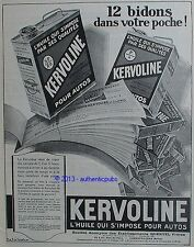 PUBLICITE KERVOLINE L'HUILE QUI S'IMPOSE POUR AUTOS 12 BIDONS DE 1926 FRENCH AD
