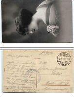 1917 Feldpost 1. Weltkrieg World War I. Motiv Frau Stempel Berlin Lankwitz