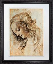 Woman's Head in Profile by Leonardo da Vinci. Framed Art Print Poster. Mahogany