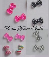 Nail Art 3d Resin Crystal BOWS  -  Stripe/ Polka Dot/ Gingham/ Check Multi List
