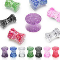 Pair Solid Acrylic Ultra Glitter Ear Saddle Plugs Tunnels Earlets Gauges