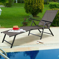 Adjustable Pool Chaise Lounge Chair Recliner Textilene Outdoor Patio Furniture
