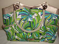 Elaine Turner Green Flower Tropical Summer Canvas Purse Tote Satchel Bag