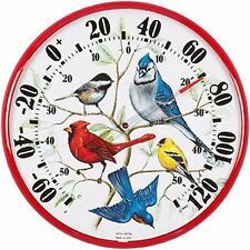 """Acu-Rite Song Wild Bird Garden Yard Indoor Outdoor Thermometer 12"""" Diameter"""