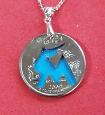 Hand Cut Florida Quarter with the Marlins Logo made into a Necklace