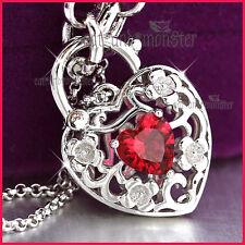 9CT WHITE GOLD GF RED GARNET CRYSTAL BELCHER CHAIN HEART PADLOCK BANGLE BRACELET