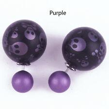 Hot 1 Pair Elegant Skull Double Side Pearl Ear Stud Ball Earrings Gift 9 Colors