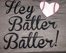 Baseball Mom Shirt Tank Top Hey Batter Batter With Glitter New