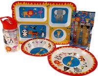 Safari 5 Piece Melamine Kid's Dinner Set - Plate, Bowl, Tray, Flask, Cutlery