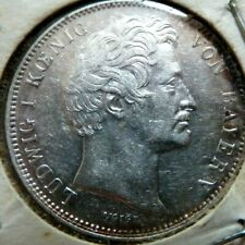 Rare Beautiful 1843 GERMAN 1/2 GULDEN SILVER COIN
