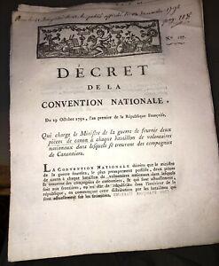 RÉVOLUTION.DOCUMENT SUR PIÉCES DE CANON POUR VOLONTAIRES NATIONAUX  (1792).