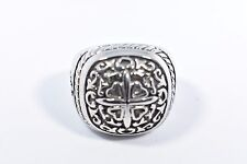 Vintage Silver Stainless Steel Gothic Cross Crest Size 10 Men's Ring