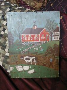 Vintage Folk Art  Farm Painting on Wood Primitive Style Animals  Unusual Neat