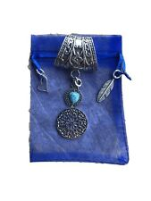 Stunning Silver Round Filigree Scarf Ring Pendant With Turquoise Stone