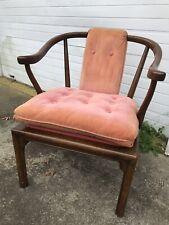 Vintage DREXEL HERITAGE Pink Velvet Tufted Lounge Club Chair Asian