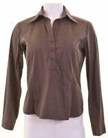 BENETTON Womens Pullover Shirt Size 12 Medium Grey Cotton  DN05
