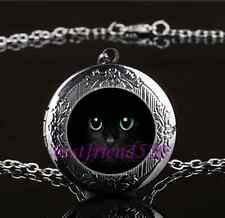 Black Cat Green Eye Photo Glass Gun Black Chain Locket Pendant Necklace