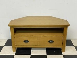 Modern Rutland rustic oak corner tv cabinet unit stand with drawer - Delivery