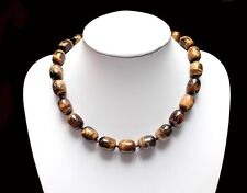 Edelsteinkette Collier Kette aus Tigerauge mit grossen Perlen, klobig, NEU