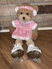 Chantilly Lane Musical Crystal Ice Skater Bear Sings Sleigh Bells Ring Pink