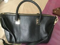 M&S black grain leather tote bag,large,mint condition