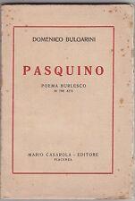 Bulgarini, Pasquino, poema burlesco, Casarola editore, 1922, teatro