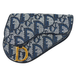 Christian Dior Trotter Pattern Saddle Coin Purse Wallet Navy TR0072 90925